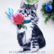 "Нашивка на одежду 3D  ""Котик с розой"" 25х16 см."