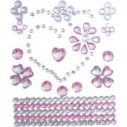 Стразы-стикеры на клеевой основе Сердечки нежно-розовые