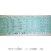 Декоративная лента-рогожка голубая