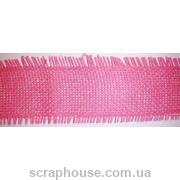 Декоративная лента-рогожка розовая