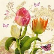 "Салфетка для декупажа ""Тюльпаны и бабочки"""