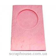 Заготовка для открытки с круглым окошком розовая