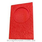 Заготовка для открытки с круглым окошком красная