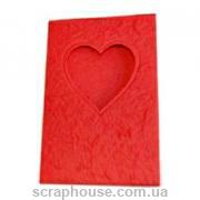 Заготовка для открытки с окошком в виде сердца красная