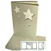 заготовка для открытки серебряная со звездами с конвертом и вкладышем