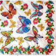 """Салфетка для декупажа """"Бабочки и цветы""""."""