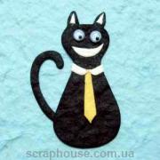 Аппликация Кот черный с подвижными глазками