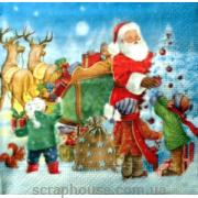 "Салфетка для декупажа ""Дед Мороз и ребятишки""."