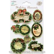 Наклейки объемные Винтажное Рождество-3. Лист с наклейками 11,5х15,5 см., 7 элементов