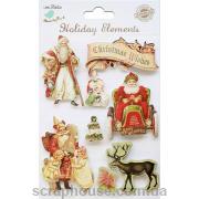 Наклейки объемные Винтажное Рождество-2. Лист с наклейками 11,5х15,5 см., 8 элементов.