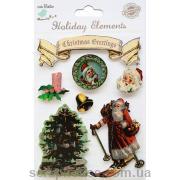 Наклейки объемные Винтажное Рождество-1. Лист с наклейками 11,5х15,5 см., 7 элементов.