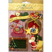 """Наклейки объемные """"Merry Cristmas""""Наклейки объемные """"Merry Cristmas"""" - 3. Лист с наклейками 11,5х15,5 см., 5 элементов."""