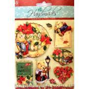 """Наклейки объемные """"Merry Cristmas"""" - 4. Лист с наклейками 11,5х15,5 см., 6 элементов."""