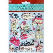 """Наклейки объемные """"Merry Cristmas"""" - 6. Лист с наклейками 11,5х15,5 см., 9 элементов."""