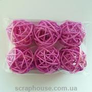 Ротанговые шарики декоративные персиковые