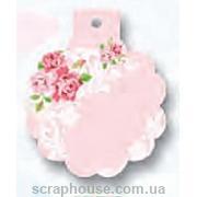 тэг подарочный розовый с розочками