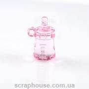 Бутылка детская декоративная акриловая розовая объёмная