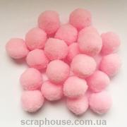 Помпончики мягкие розовые нежные d=1,5 см
