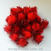 Помпончики мягкие красные с искрящимися ворсинками (снежки)