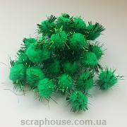 Помпончики мягкие зеленые с искрящимися ворсинками (снежки)