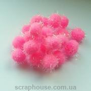 Помпончики мягкие розовые с искрящимися ворсинками (снежки)