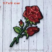 """Термонаклейка на одежду, модный термопатч """"Ветка розы"""""""