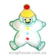 Аппликация из ткани Снеговик-клоун пушистый