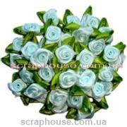 Розочки атласные, голубого цвета, с зелеными листиками