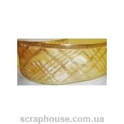 Лента из органзы кремовая Плетенка, плотная, непрозрачная, на проволоке, ширина 5,0 см
