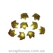 Пайетки Листики кленовые салатовые