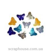 Пайетки бабочки разноцветные