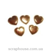 Сердечки атласные золотые