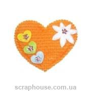 Аппликация из ткани Сердечко оранжевое