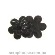 Аппликация из ткани Цветок черный блестящий