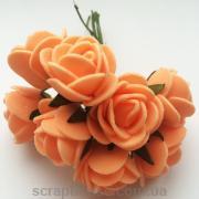 """Розы абрикосовые раскрытые (лепестки - """"пенка""""), с бумажными листиками, на проволоке"""