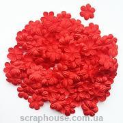 Цветочки маленькие красные текстильные скруглыми лепестками