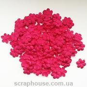 Цветочки маленькие малиновые текстильные с круглыми лепестками