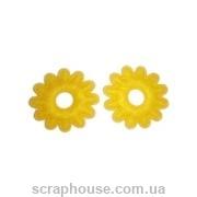 Аппликация из фетра Желтые цветы зубчиками