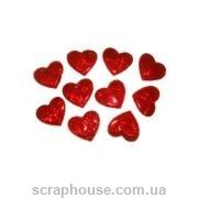 Наклейки Сердечки средние, объемные, голографические, блестящие, средние, на скотче