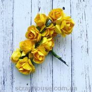 Розы бумажные желтые для скрапбукинга 12 шт