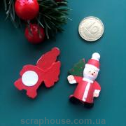 Деревянная аппликация Дед Мороз