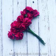 Розы бумажные цвета фуксии для скрапбукинга 12 шт
