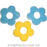 Аппликация из фетра Желто-голубые цветы