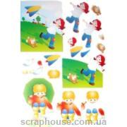 """3-D Мотив """"Мальчик и девочка"""" для создания объемного украшения открыток, коробочек, альбомов и др..."""