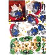 """3-D Мотив """"Котики и собачки"""" для создания объемного украшения открыток, коробочек, альбомов и др..."""