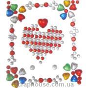 Стразы-стикеры на клеевой основе Сердечки разноцветные