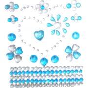 Стразы-стикеры на клеевой основе Сердечки голубые