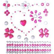 Стразы-стикеры на клеевой основе Сердечки розовые