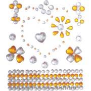 Стразы-стикеры на клеевой основе Сердечки желтые