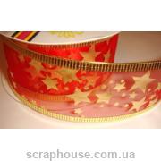 Лента из органзы красная звездочки, на проволоке, ширина 3,8 см